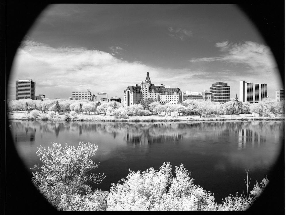 Meewasin Trail, opposite Bessborough Hotel downtown, Saskatoon, Saskatchewan. Rollei Infrared 400 120mm, 2017-05-20, Hoya R72 filter, 1/8 @ f/16.