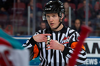 KELOWNA, CANADA - JANUARY 10: Referee Mike Campbell stands at centre ice at the Kelowna Rockets against the Spokane Chiefs on January 10, 2017 at Prospera Place in Kelowna, British Columbia, Canada.  (Photo by Marissa Baecker/Shoot the Breeze)  *** Local Caption ***