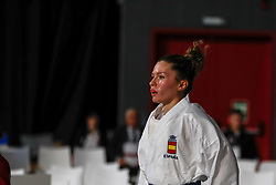 November 10, 2018 - Madrid, Madrid, Spain - Cristina Ferrer of Spain, Iran Team and Spain Team for the bronce medal and the third place of Female Kumite for Team tournament during the Finals of Karate World Championship celebrates in Wizink Center, Madrid, Spain, on November 10th, 2018. (Credit Image: © AFP7 via ZUMA Wire)