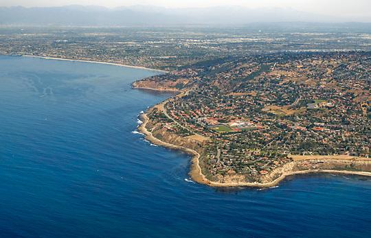 Aerial view of Palos Verdes looking northeast toward the Los Angeles area.