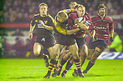 Gloucester, Gloucestershire, UK., 04.01.2003, [L] Stuart ABBOTT, tackles Ludovic Mercier, action from the, Zurich Premiership Rugby match, Gloucester vs London Wasps,  Kingsholm Stadium,  [Mandatory Credit: Peter Spurrier/Intersport Images],