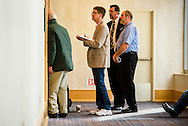 Attendees stand and listen outside a standing-room-only sectional led by the Rev. Jonathan Fisk, KFUO program host, during the 2017 LCMS Life Conference on Sunday, Jan. 29, 2017, in Arlington, Va. LCMS Communications/Erik M. Lunsford