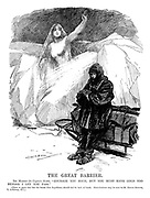 """The Great Barrier. Ice Maiden (to Captain Scott). """"Courage you have, but you must have gold too before I let you pass."""" (There is grave fear lest the South Pole Expedition should fail for lack of funds. Contributions may be sent to Sir Edgar Speyer, 7 Lothbury, E.C.)"""