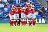 Bristol City Team huddle before the start of the EFL Sky Bet Championship match between Cardiff City and Bristol City at the Cardiff City Stadium, Cardiff, Wales on 28 August 2021.