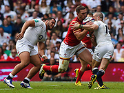Wales' George North runs into England's Mike Brown during the The Old Mutual Wealth Cup match England -V- Wales at Twickenham Stadium, London, Greater London, England on Sunday, May 29, 2016. (Steve Flynn/Image of Sport)