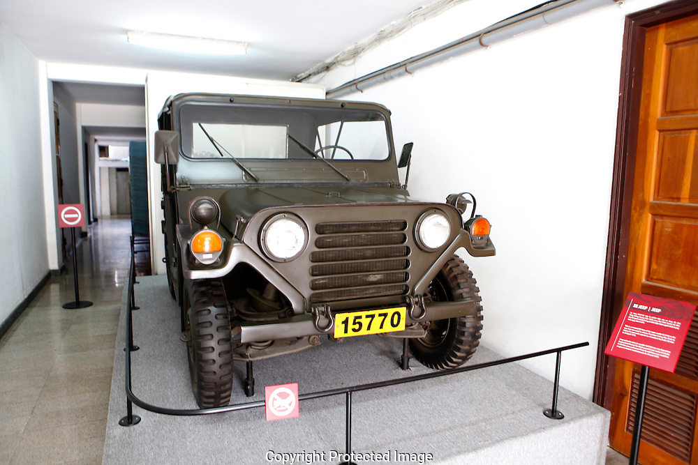 The XE Jeep used by on thong Duong Van Minh<br /> The Presidential Palace in Saigon.  <br /> <br />  photo by Dennis Brack