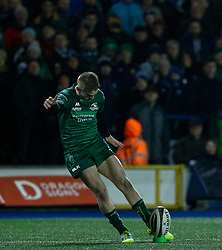 Conor Fitzgerald of Connacht kicks at goal<br /> <br /> Photographer Simon King/Replay Images<br /> <br /> Guinness PRO14 Round 14 - Cardiff Blues v Connacht - Saturday 26th January 2019 - Cardiff Arms Park - Cardiff<br /> <br /> World Copyright © Replay Images . All rights reserved. info@replayimages.co.uk - http://replayimages.co.uk