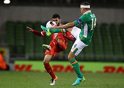 Oman's Ali Sulaiman Rashid Al Busaidi in action against Ireland's Jon Walters - Mandatory by-line: Ken Sutton/JMP - 31/08/2016 - FOOTBALL - Aviva Stadium - Dublin,  - Republic of Ireland v Oman -