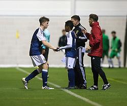 Scotland's Karamoko Dembele comes on the pitch. Scotland 0 v 3 Repulic of Ireland, Under 16 Victory Shield played at Oriam, Edinburgh.