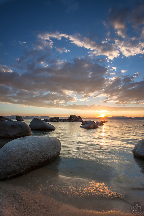 """""""Sunset at Whale Beach, Tahoe 3"""" - Photograph of a sunset at Whale Beach on the East Shore of Lake Tahoe.  Whale Rock can be seen in the distance."""
