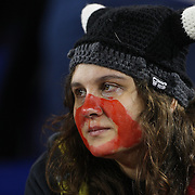 A New York Red Bulls fan, crying at her sides loss after the final whistle during the New York Red Bulls V Houston Dynamo, Major League Soccer second leg of the Eastern Conference Semifinals match at Red Bull Arena, Harrison, New Jersey. USA. 6th November 2013. Photo Tim Clayton