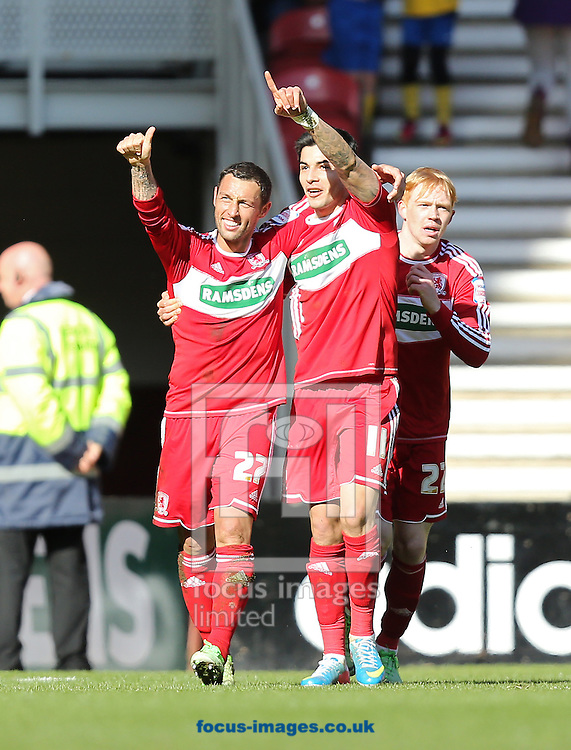 Picture by Paul Gaythorpe/Focus Images Ltd +447771 871632.27/04/2013.Scott McDonald and Emmanuel Ledesma of Middlesbrough celebrate Scott McDonald scoring a late equaliser against Charlton Athletic during the npower Championship match at the Riverside Stadium, Middlesbrough.