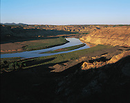 Montana, Missouri Breaks on the Missouri RIver, overlooking Nez Perce' National Historic Trail, explored by Lewis & Clark.in spring of 1805, These United States Book pages 156-157
