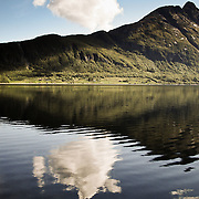 Three weeks aboard the Kong Harald. Hurtigruten, the Coastal Express. Landscape of green mountains reflecting in the sea.