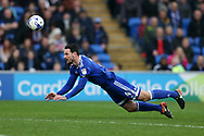 Sean Morrison of Cardiff city in action.EFL Skybet championship match, Cardiff city v Birmingham City at the Cardiff City Stadium in Cardiff, South Wales on Saturday 11th March 2017.<br /> pic by Andrew Orchard, Andrew Orchard sports photography.