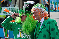 Two men pose for photo to celebrate St. Patrick's Day in London, Britain, on March 13, 2016. EXPA Pictures © 2016, PhotoCredit: EXPA/ Photoshot/ Ray Tang<br /> <br /> *****ATTENTION - for AUT, SLO, CRO, SRB, BIH, MAZ, SUI only*****