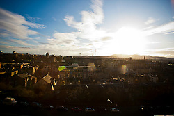 View from Edinburgh Castle esplanade. .Edinburgh in the December sunlight..Pic © Michael Schofield.