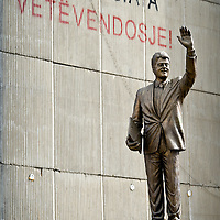 """Pristina, Kosovo 17 February 2011<br /> Statue of Bill Clinton on Bill Clinton Boulevard.<br /> After the Kosovo War and the 1999 NATO bombing of Yugoslavia, the territory of Kosovo came under the interim administration of the United Nations Mission in Kosovo (UNMIK), and most of those roles were assumed by the European Union Rule of Law Mission in Kosovo (EULEX) in December 2008. <br /> In February 2008 individual members of the Assembly of Kosovo declared Kosovo's independence as the Republic of Kosovo. Its independence is recognised by 75 UN member states. <br /> On 8 October 2008, upon request of Serbia, the UN General Assembly adopted a resolution asking the International Court of Justice for an advisory opinion on the issue of Kosovo's declaration of independence.<br /> On 22 July 2010, the ICJ ruled that Kosovo's declaration of independence did not violate international law, which its president said contains no """"prohibitions on declarations of independence"""".<br /> Photo: Ezequiel Scagnetti"""