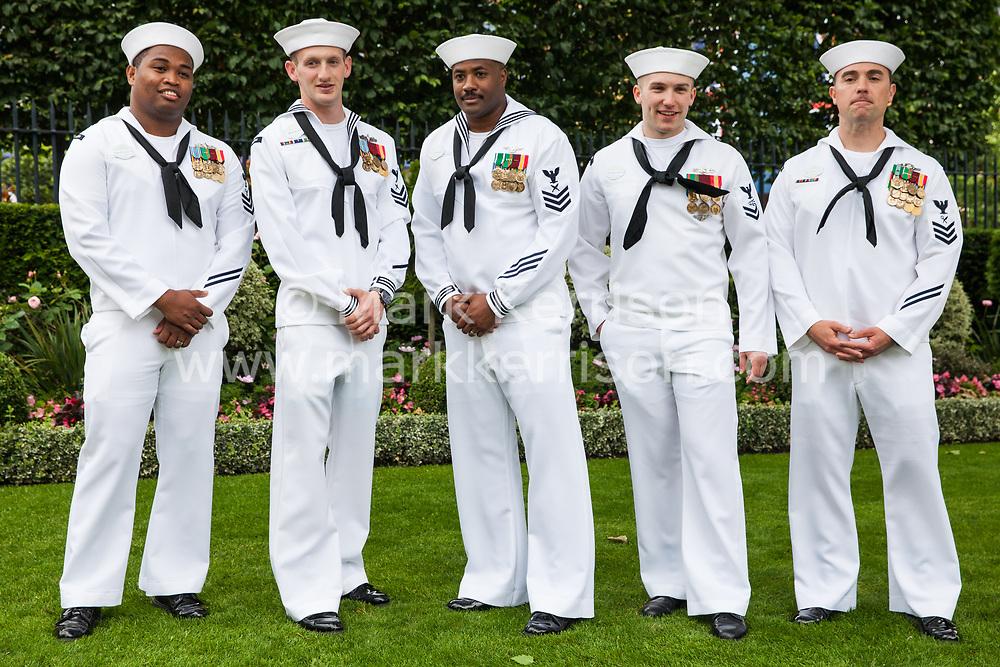 Ascot, UK. 20 June, 2019. American sailors attend Ladies Day at Royal Ascot.