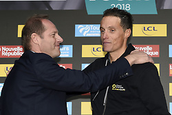 October 7, 2018 - Tours, France - TOURS, FRANCE - OCTOBER 7 : PRUDHOMME Christian (FRA) Director of ASO, CHAVANEL Sylvain (FRA)  of Direct Energie during the 112th edition of the Paris - Tours Elite cycling race with start in Chartres and finish in Tours on October 07, 2018 in Tours, France, 7/10/2018 (Credit Image: © Panoramic via ZUMA Press)