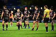 Sam Hidalgo-Clyne and the Edinburgh players await the decision of the TMO during the Guinness Pro 14 2017_18 match between Edinburgh Rugby and Dragons Rugby at Myreside Stadium, Edinburgh, Scotland on 8 September 2017. Photo by Kevin Murray.