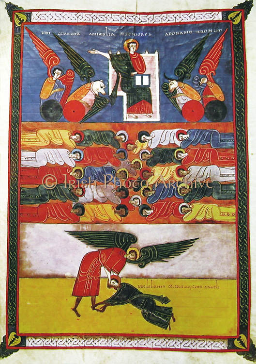 Miniature from Beatus of Liebana (San Beato c730-c800) Spanish monk,  'Commentary on the Apocalypse' (Revelations) from the 11th century copy belonging to Fernando I and Sancha of Castile and Leon.Religion Christian