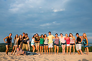 The Oregon Marching Band, collectively known as Shadow Armada, are seen together at the beach and dunes nearby Traverse City, Michigan on July 14, 2012.