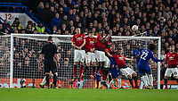 Football - 2018 / 2019 Emirates FA Cup - Fifth Round: Chelsea vs. Manchester United <br /> <br /> Willian (Chelsea FC) tries his luck from a free kick at Stamford Bridge<br /> <br /> COLORSPORT/DANIEL BEARHAM