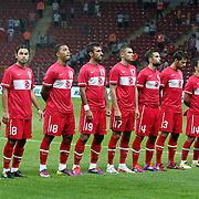 Turkey's players (Left to Right) Servet CETIN, Gokhan GONUL, Selcuk INAN, Colin Kazim RICHARDS, Selcuk SAHIN, Burak YILMAZ, Serdar KESIMAL, Hakan BALTA, Arda TURAN, goalkeeper Sinan BOLAT, Emre BELOZOGLU during their a international friendly soccer match Turkey betwen Estonia at TT Arena Istanbul August 10, 2011. Photo by TURKPIX