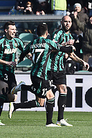 esultanza gol Simone Zaza Goal celebration <br /> Reggio Emilia 01-02-2015 Mapei Stadium Football Calcio Serie A 2014/2015 Sassuolo - Inter foto Image Sport / Insidefoto