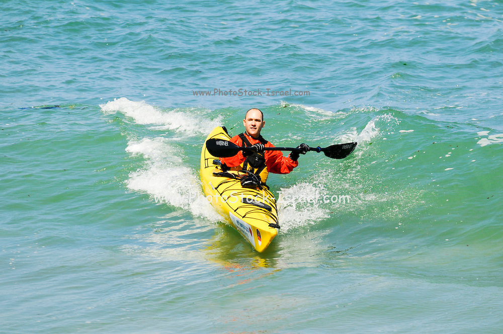Israel, Caesarea, A set of four images of a capsizing Kayak in the Mediterranean sea