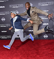 Celebrities arrive at the 'Rogue One: A Star Wars Story' movie premiere in Hollywood, California. 10 Dec 2016 Pictured: Terry Crewes and Isaiah Crewes. Photo credit: American Foto Features / MEGA TheMegaAgency.com +1 888 505 6342