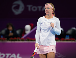 February 13, 2019 - Doha, QATAR - Kiki Bertens of the Netherlands in action during her second-round match at the 2019 Qatar Total Open WTA Premier tennis tournament (Credit Image: © AFP7 via ZUMA Wire)