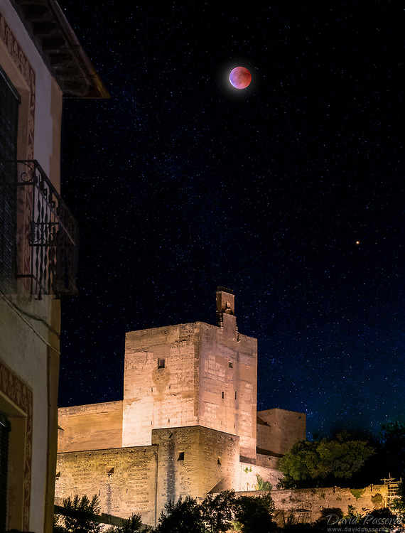 Red moon over Alhambra during 2018 eclipse.