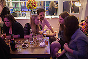 Katie Glass, Laura Bates + partner, Bertie Brandes, Georgina Phibbs (child), Amelia Abraham , The opening of the Other Club.  theotherclub.co.uk , Kingly court, Soho, London. 27 September 2013