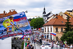 Peloton in city center of Novo mesto during the 5th Stage of 27th Tour of Slovenia 2021 cycling race between Ljubljana and Novo mesto (175,3 km), on June 13, 2021 in Slovenia. Photo by Matic Klansek Velej / Sportida