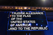 The Pledge of Allegiance is projected on a teleprompt as worker make last minute preparations for the start of the Democratic National Convention at the Wells Fargo Center July 24, 2016 in Philadelphia, Pennsylvania.
