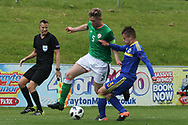 Nathan Collins of Republic of Ireland (5) and Dino Islamovic of Bosnia and Herzegovina (3) battle for the ball during the UEFA European Under 17 Championship 2018 match between Bosnia and Republic of Ireland at Stadion Bilino Polje, Zenica, Bosnia and Herzegovina on 11 May 2018. Picture by Mick Haynes.