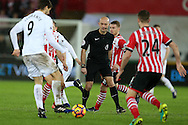referee Roger East (c) in action. Premier league match, Swansea city v Southampton at the Liberty Stadium in Swansea, South Wales on Tuesday 31st January 2017.<br /> pic by  Andrew Orchard, Andrew Orchard sports photography.