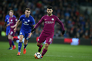 Sergio Aguero of Manchester city in action. The Emirates FA Cup, 4th round match, Cardiff city v Manchester City at the Cardiff City Stadium in Cardiff, South Wales on Sunday 28th January 2018.<br /> pic by Andrew Orchard, Andrew Orchard sports photography.