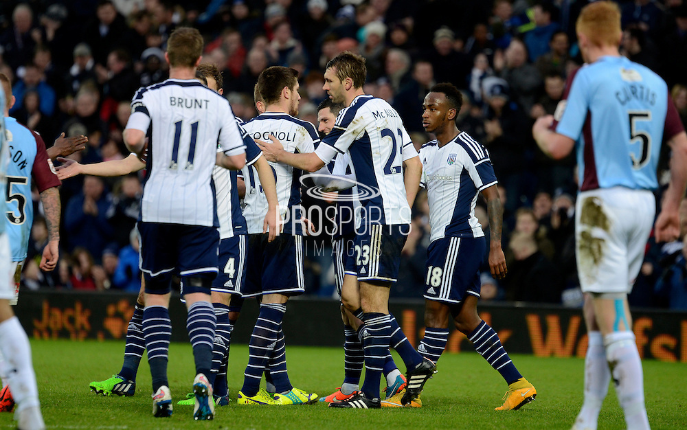 West Brom players celebrate Saido Berahino's goal during the The FA Cup match between West Bromwich Albion and Gateshead at The Hawthorns, West Bromwich, England on 3 January 2015. Photo by Alan Franklin.