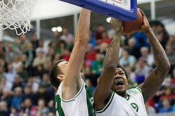 Smiljan Pavic of Krka vs Deon Marshall Thompson of Olimpija during basketball match between KK Union Olimpija Ljubljana and KK Krka Novo mesto of finals of 11th Slovenian Spar Cup 2012, on February 19, 2012 in Sports hall Brezice,  Brezice, Slovenia. (Photo By Vid Ponikvar / Sportida.com)