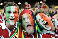 22 June 2013; British & Irish Lions supporters, from left, Eoin Landers, from Cappoquin, Waterford, Conor Byrne, from Glanmire, Cork, and Harman Murtagh, from Athlone, Co. Westmeath, at the game. British & Irish Lions Tour 2013, 1st Test, Australia v British & Irish Lions, Suncorp Stadium, Brisbane, Queensland, Australia. Picture credit: Stephen McCarthy / SPORTSFILE