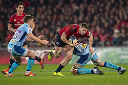 January 19, 2019 - Limerick, Ireland - Chris Farrell of Munster tackled by Jonny Hill of Exeter during the Heineken Champions Cup match between Munster Rugby and Exeter Chiefs at Thomond Park in Limerick, Ireland on January 19, 2019  (Credit Image: © Andrew Surma/NurPhoto via ZUMA Press)