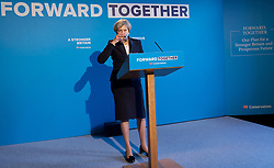 Theresa May <br /> Leader of the Conservatives <br /> launches The Conservative Party manifesto in Halifax, West Yorkshire, Great Britain <br /> 18th May 2017 <br /> <br /> General Election '17 <br /> Campaign event <br /> <br /> <br /> <br /> <br /> <br /> <br /> Photograph by Elliott Franks <br /> Image licensed to Elliott Franks Photography Services