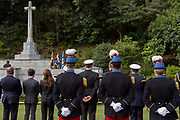 French soldiers during the Remembrance Sunday ceremony at the Hodogaya, Commonwealth War Graves Cemetery in Hodogaya, Yokohama, Kanagawa, Japan. Sunday November 11th 2018. The Hodagaya Cemetery holds the remains of more than 1500 servicemen and women, from the Commonwealth but also from Holland and the United States, who died as prisoners of war or during the Allied occupation of Japan. Each year officials from the British and Commonwealth embassies, the British Legion and the British Chamber of Commerce honour the dead at a ceremony in this beautiful cemetery. The year 2018 marks the centenary of the end of the First World War in 1918.