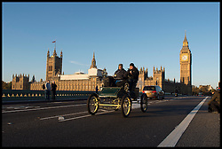 November 6, 2016 - London, London, United Kingdom - Image ©Licensed to i-Images Picture Agency. 06/11/2016. London, United Kingdom. ..The London to Brighton Veteran Car Run 2016...A 1903 Stanley (steam) Runabout driven by Bill Rich travels over Westminster Bridge in central London, UK, on the first leg of the journey from London to Brighton...Picture by Ben Stevens / i-Images (Credit Image: © Ben Stevens/i-Images via ZUMA Wire)