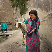 A shepherd returns from picking a stray sheep, in Moorkhun village.