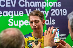 18-05-2019 GER: CEV CL Super Finals Igor Gorgonzola Novara - Imoco Volley Conegliano, Berlin<br /> Igor Gorgonzola Novara take women's title! Novara win 3-1 / Robin de Kruijf #5 of Imoco Volley Conegliano disappointed during the mixed zone