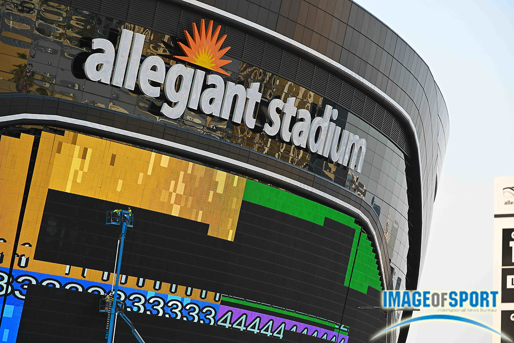 Construction crews are seen working on video boards outside of Allegiant Stadium, Monday, Sept. 14, 2020, in Las Vegas. (Dylan Stewart/Image of Sport)